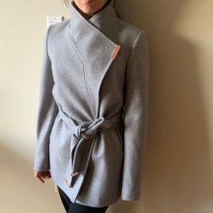 Ted Baker Grey Keyla Short Wrap Coat US 4